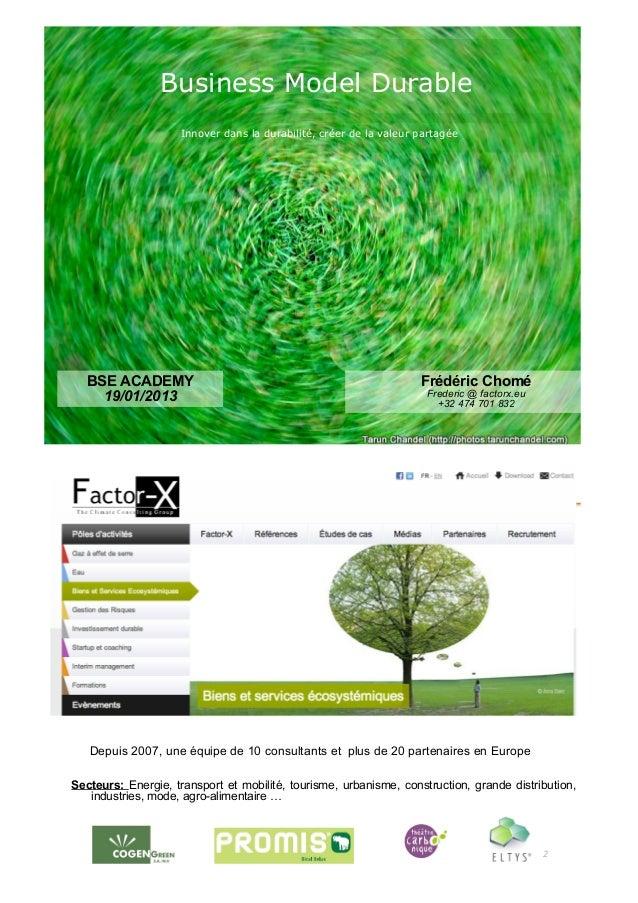 Business Model Durable                     Innover dans la durabilité, créer de la valeur partagée   BSE ACADEMY          ...