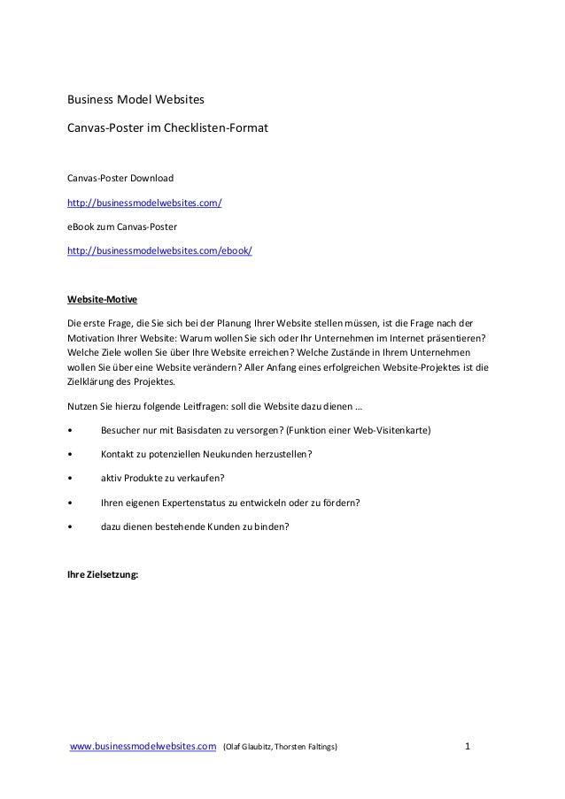 Business Model Websites Canvas Poster- format Checkliste
