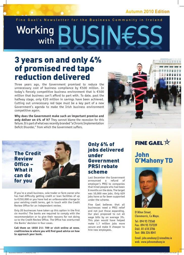 Business Newsletter From John O'Mahony TD