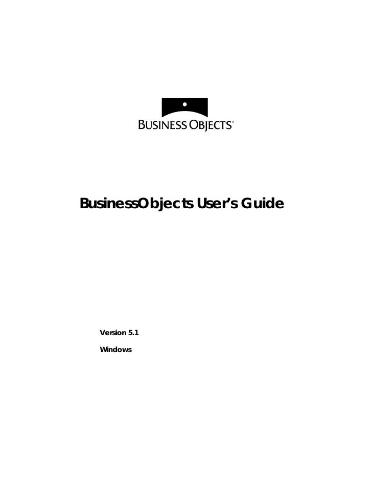 BusinessObjects User's Guide  Version 5.1  Windows