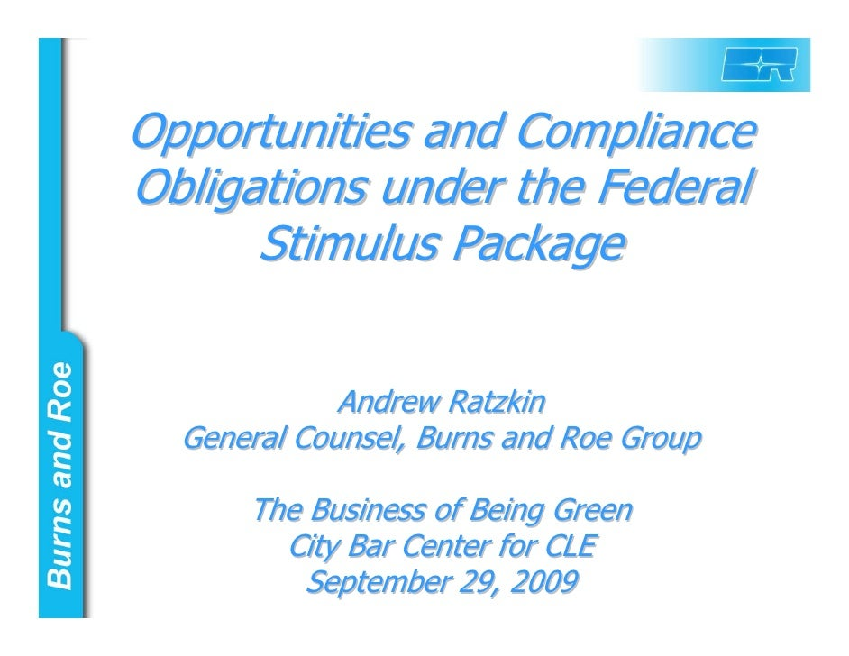 Opportunities and Compliance Obligations under the Federal Stimulus Package