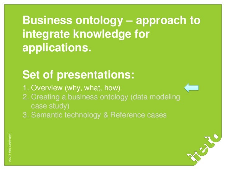 Business ontology – approach to                           integrate knowledge for                           applications. ...