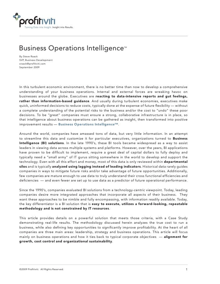 Turning Data into Insight. Insight into Results.     Business Operations Intelligence                                  TM ...