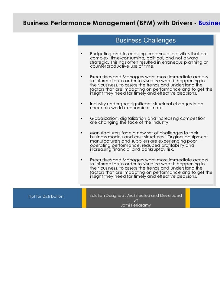 Business Performance Management (BPM) with Drivers - Business Challenges                                         Business ...