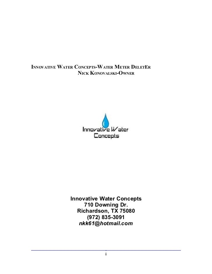 INNOVATIVE WATER CONCEPTS-WATER METER DELETER                  NICK KONOVALSKI-OWNER              Innovative Water Concept...