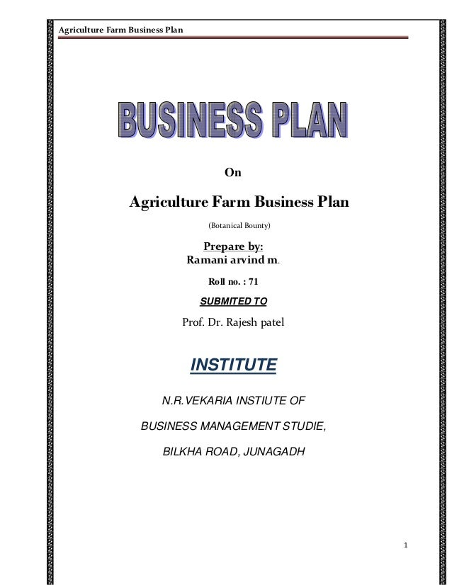 Business plan on agriculture