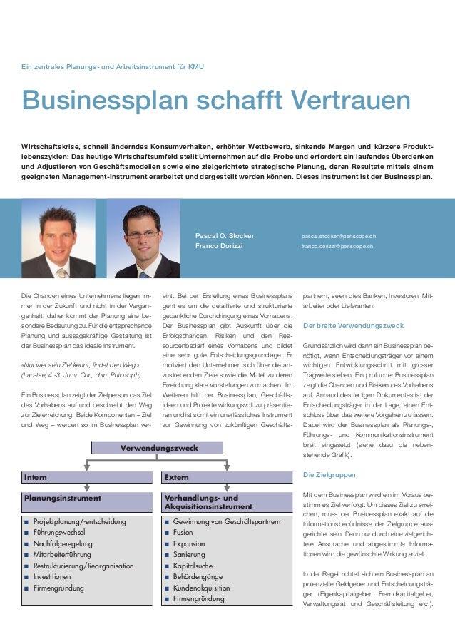 Ein zentrales Planungs- und Arbeitsinstrument für KMUBusinessplan schafft VertrauenWirtschaftskrise, schnell änderndes Kon...