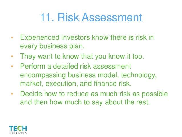 Assessment of risk in business plan
