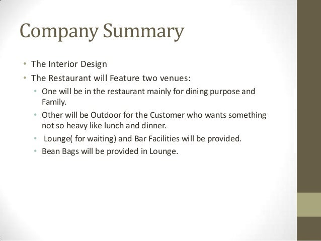 executive summary restaurant concept Business feasibility study outline  decision-makers when determining if the business concept is viable  executive summary table of contents.