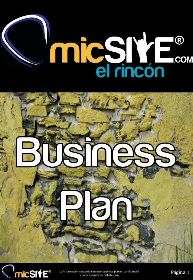 La información contenida en este business plan es confidencial                       y no se auto...