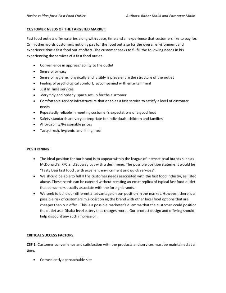 Writing A Restaurant Business Plan