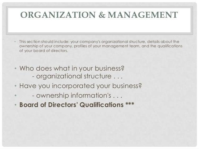 Business plan organization