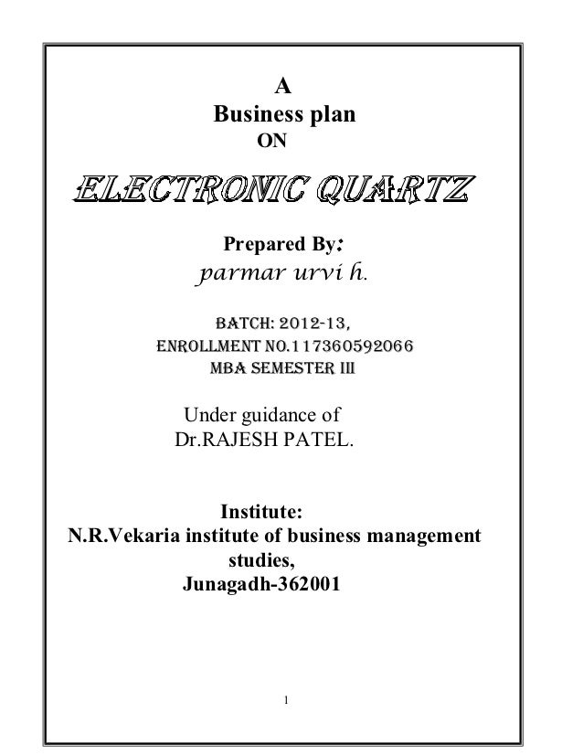 A               Business plan                    ON               Prepared By:             parmar urvi h.               Ba...