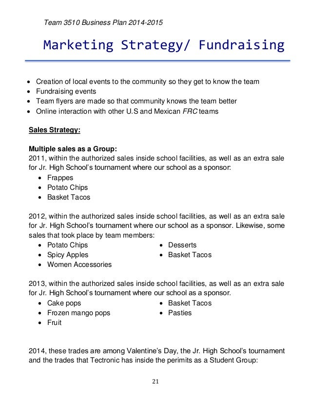 Fundraising business plan template