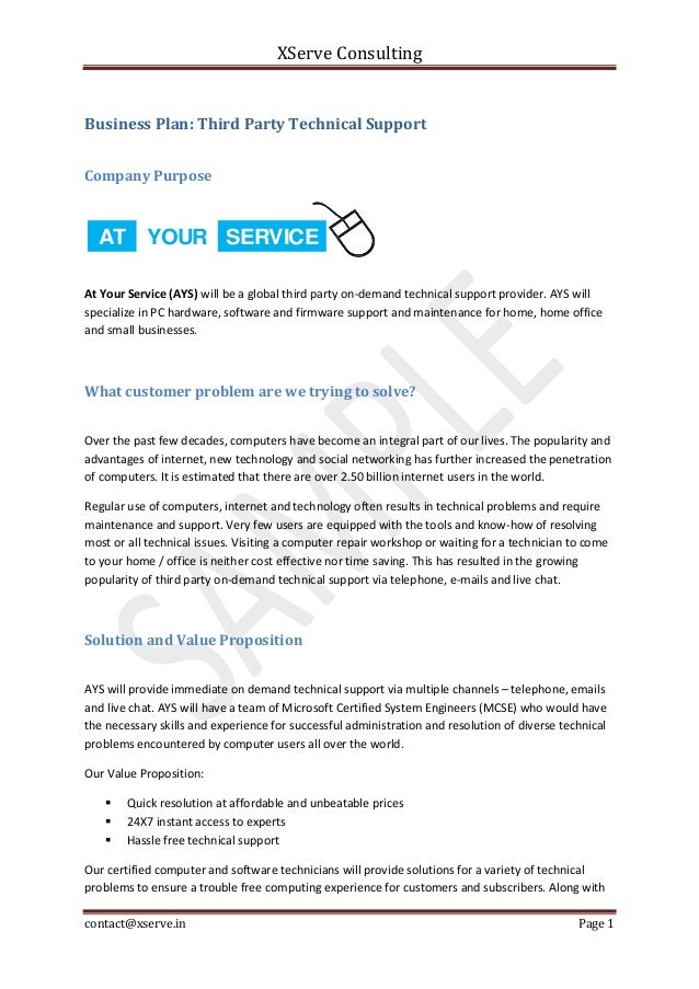 Business plan sample for Technical support agreement template