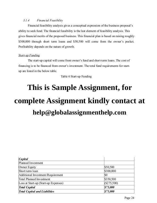 Financial planning assignment