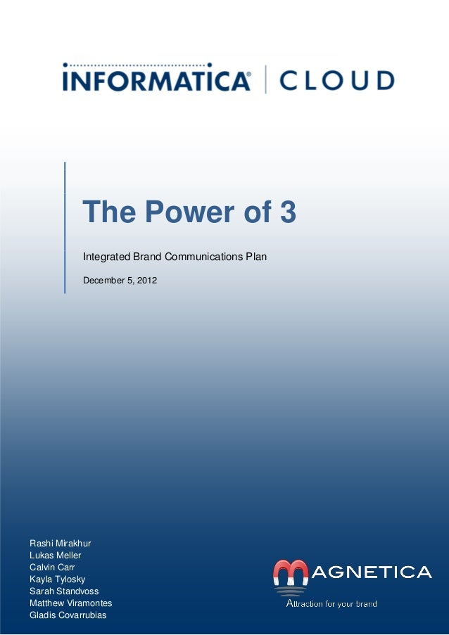 S  The Power of 3 Integrated Brand Communications Plan December 5, 2012  Rashi Mirakhur Lukas Meller Calvin Carr Kayla Tyl...