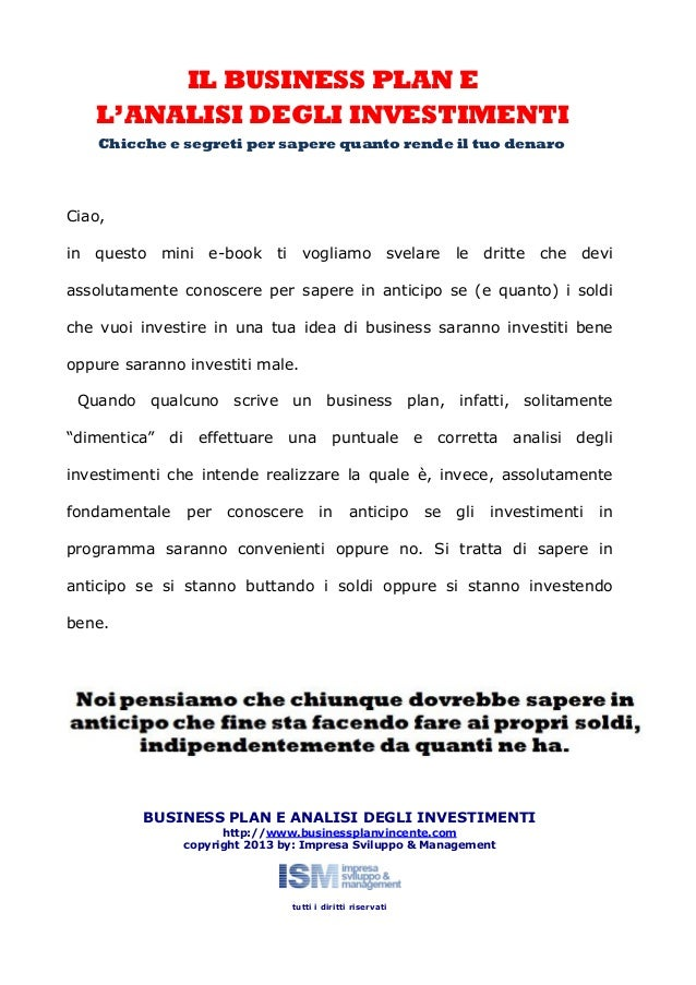 Business plan e analisi degli investimenti