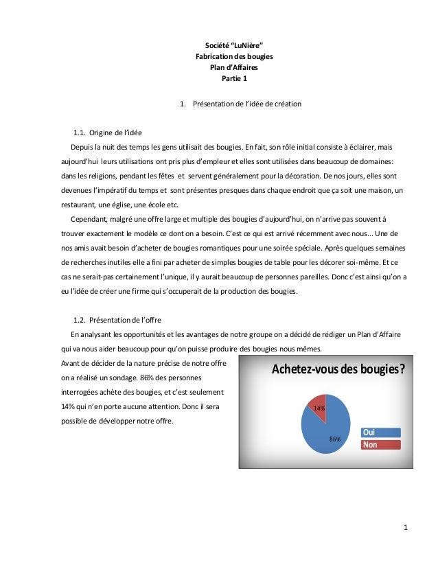 """1 86% 14% Achetez-vousdes bougies? Oui Non Société """"LuNière"""" Fabrication des bougies Plan d'Affaires Partie 1 1. Présentat..."""