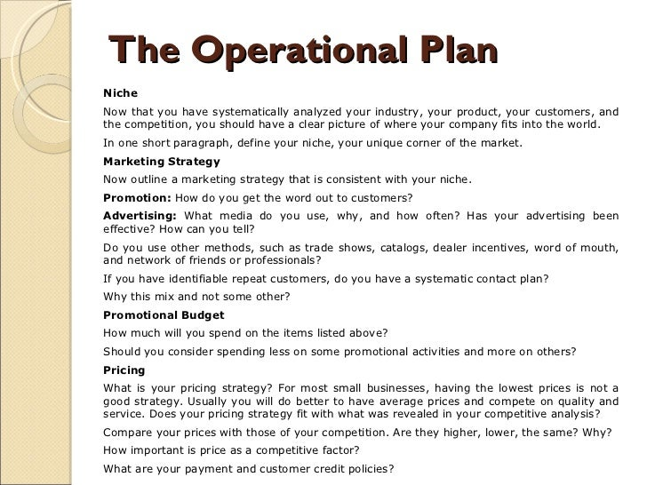 Operations part of a business plan