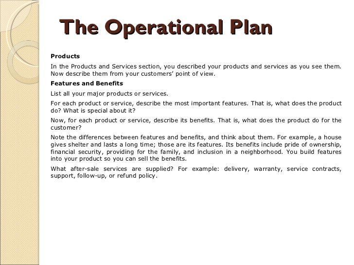 Business plan products and services