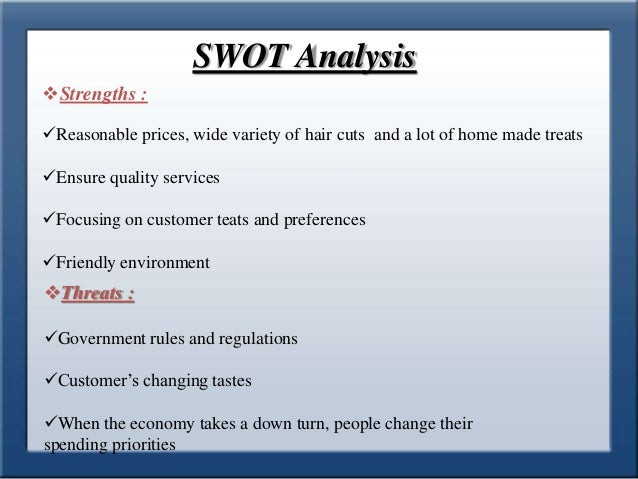 swot analysis on day spa business plan I spent part of a day i decided the first order of business was to do a swot analysis 2 responses to swot analysis part 1 – strengths & weaknesses.