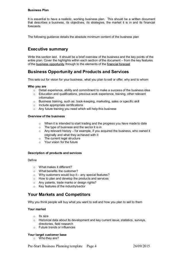 Sample Business Plan Format
