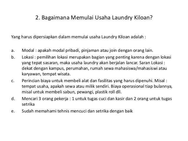 Business plan for laundry