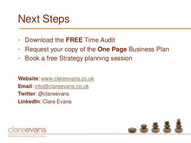 One Page Business Strategy One Page Business Plan•