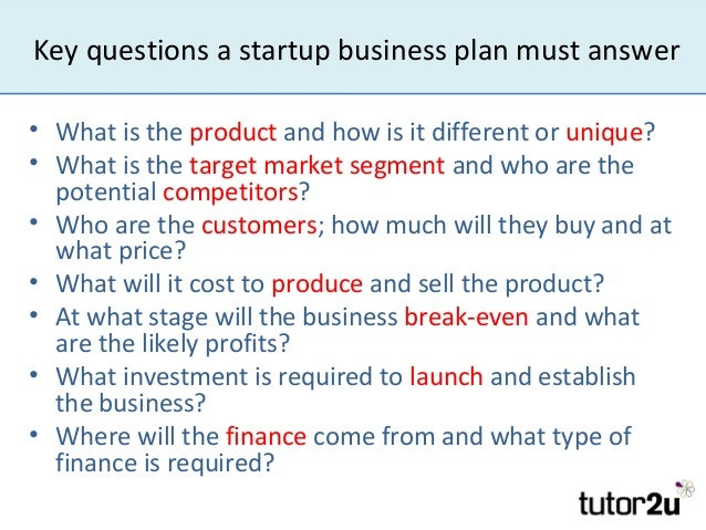 Questions for business plan