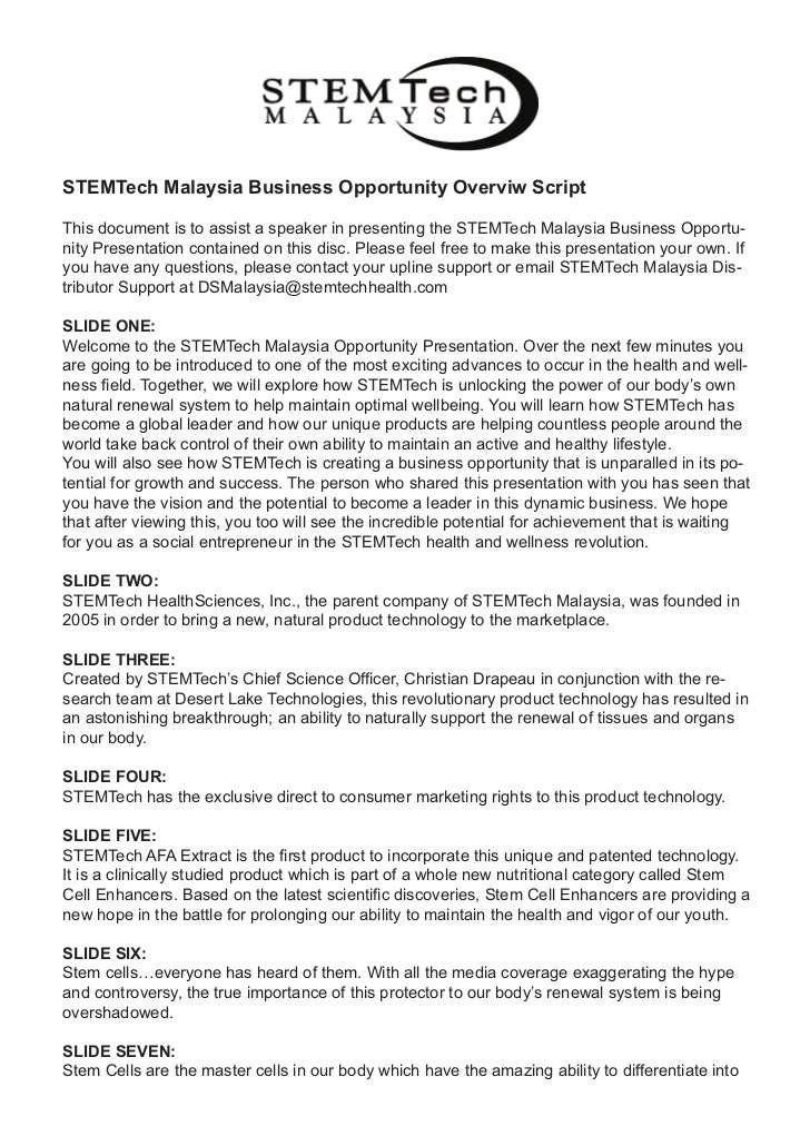 STEMTech Malaysia Business Opportunity Overviw ScriptThis document is to assist a speaker in presenting the STEMTech Malay...