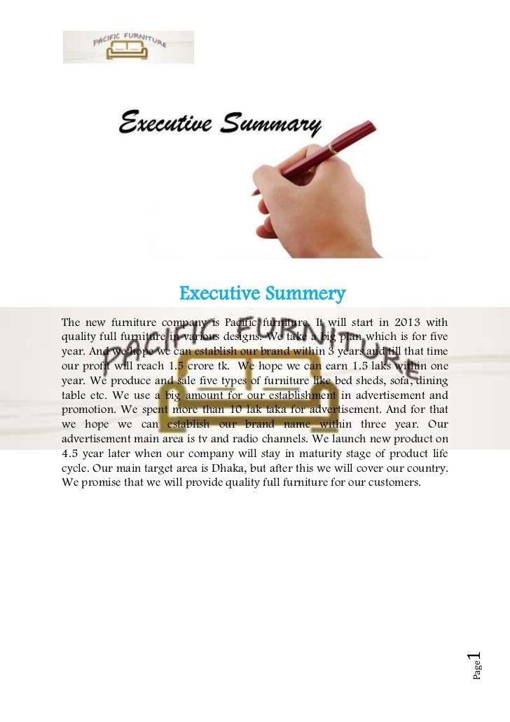 Custom furniture business plan