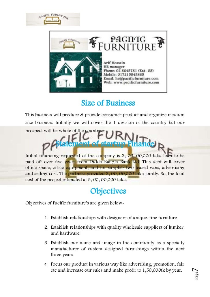 A Sample Furniture Manufacturing Business Plan Template