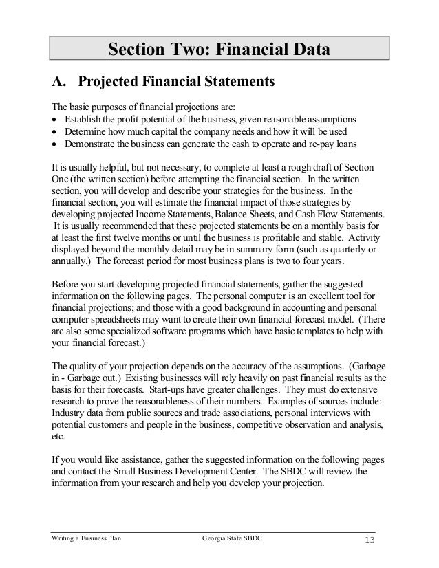 write my financial business plan example