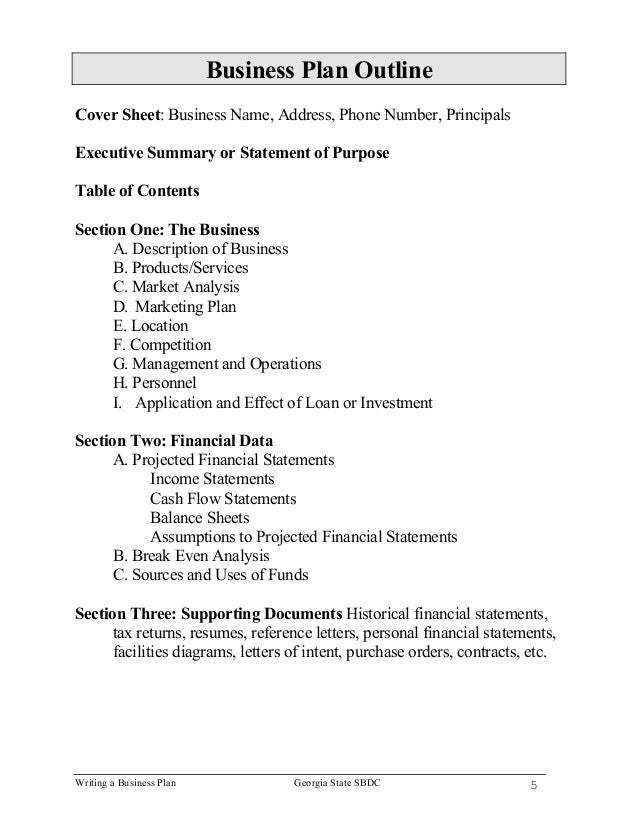 Sections of business plan