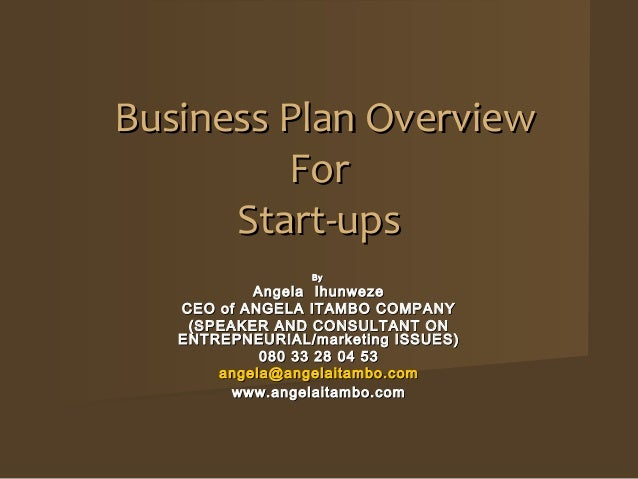 Business Plan Overview         For      Start-ups                 By           Angela Ihunweze   CEO of ANGELA ITAMBO COMP...