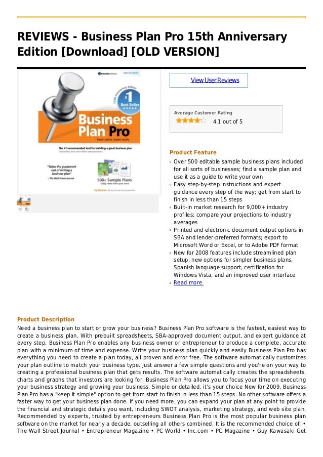 REVIEWS - Business Plan Pro 15th AnniversaryEdition [Download] [OLD VERSION]ViewUserReviewsAverage Customer Rating4.1 out ...