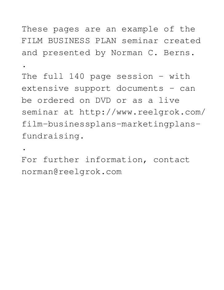 Film studio business plan