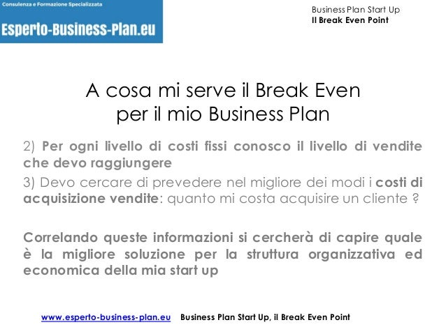 Break even point nel business plan