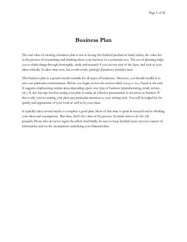 Page 1 of 28 Business Plan The real value of creating a business plan is not in having the finished product in hand; rathe...