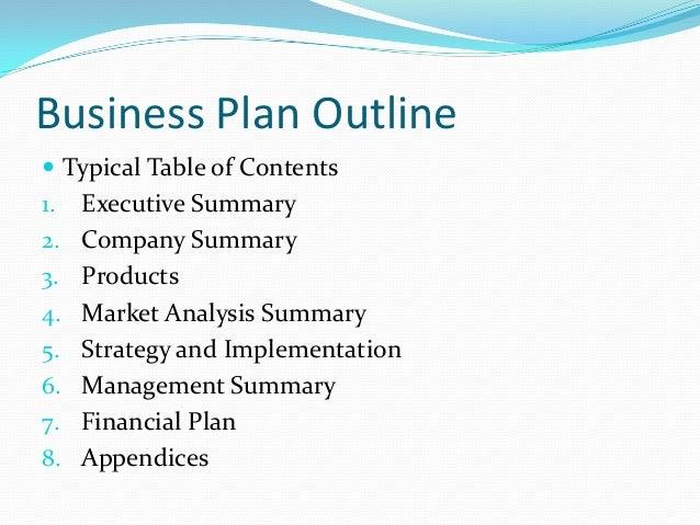 Business Plan Presentation Outline