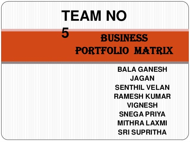 TEAM NO5   Business portfolio Matrix        BALA GANESH           JAGAN       SENTHIL VELAN       RAMESH KUMAR          VI...
