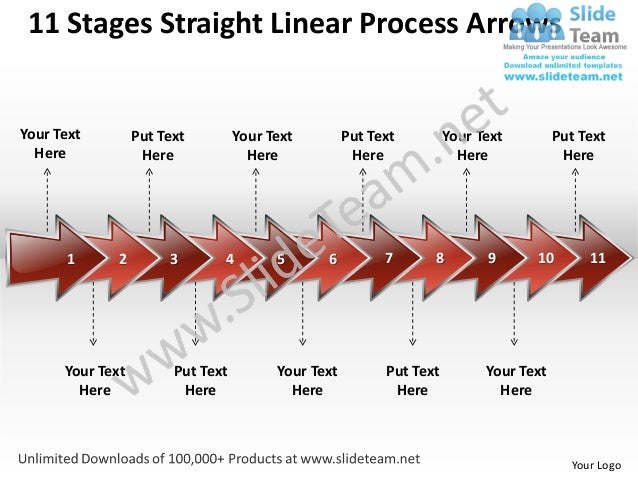 11 Stages Straight Linear Process ArrowsYour Text         Put Text         Your Text         Put Text         Your Text   ...
