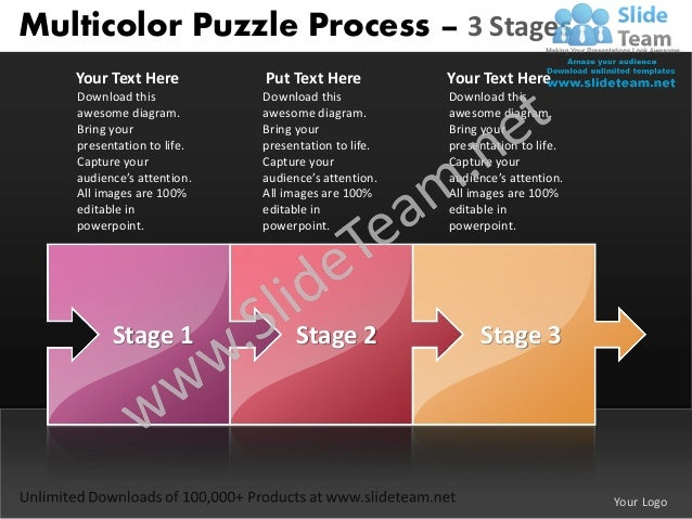 Business power point templates 3 stages multicolor puzzle process sales ppt slides