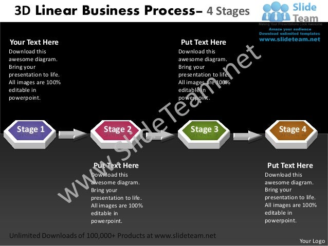 3D Linear Business Process– 4 StagesYour Text Here                                   Put Text HereDownload this           ...