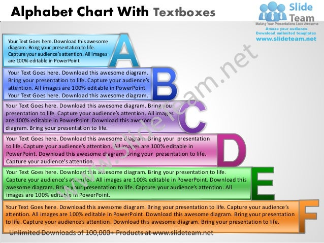 Alphabet Chart With TextboxesYour Text Goes here. Download this awesomediagram. Bring your presentation to life.Capture yo...