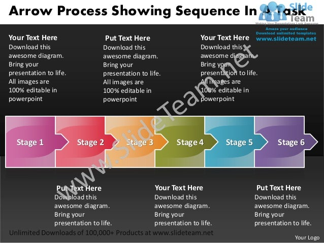 Arrow Process Showing Sequence In A TaskYour Text Here                    Put Text Here                    Your Text HereD...
