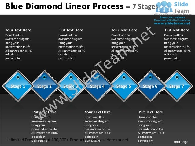 Business power point templates blue diamond linear process 7 phase diagram ppt sales slides