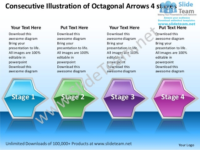 Business power point templates consecutive illustration of octagonal arrows 4 stages sales ppt slides
