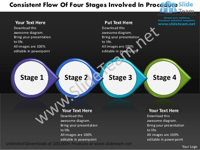 Business power point templates consistent flow of four stages involved procedure sales ppt slides